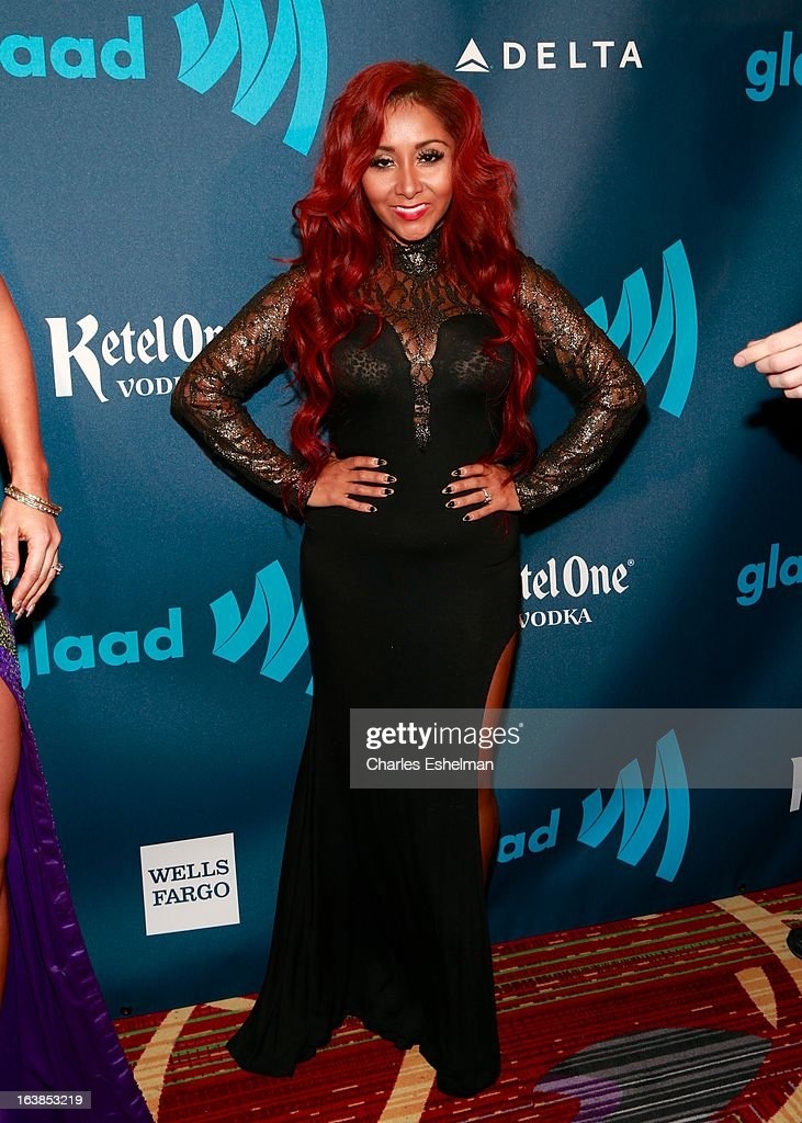 TV personality Nicole 'Snooki' Polizzi attends the 24th annual GLAAD Media awards at The New York Marriott Marquis on March 16, 2013 in New York City.