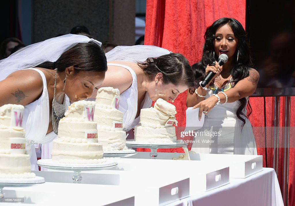 TV personality Nicole 'Snooki' Polizzi hosts WE TV's 'Bridezillas' kick off of it's 10th anniversary and final season witha cake eating competition on May 30, 2013 in New York City.