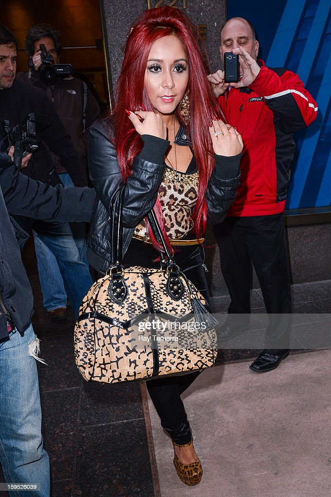 TV personality Nicole 'Snooki' Polizzi leaves the Sirius XM Studios on January 14, 2013 in New York City.