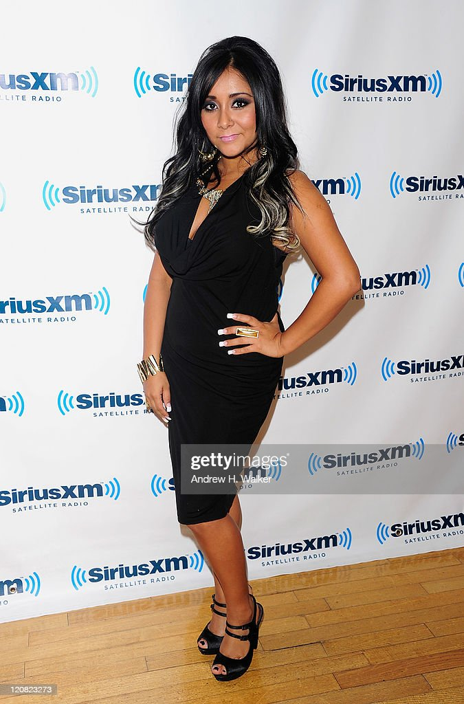 TV personality Nicole 'Snooki' Polizzi visits SiriusXM's studio on August 11, 2011 in New York City.
