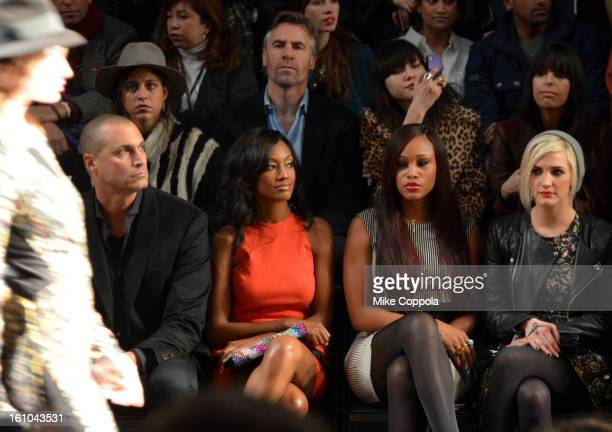 TV Personality Nigel Barker actress Nichole Galicia singer Eve and Ashlee Simpson attend the Nicole Miller Fall 2013 fashion show during MercedesBenz...