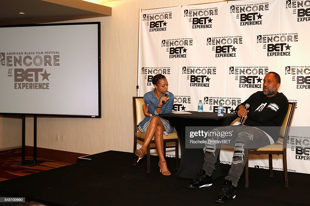 TV personality Nischelle Turner (L) and producer Kenya Barris speak during the ABFF Encore @ BET Experience Screening The Life of a Showrunner / Master Class during the 2016 BET Experience on June 25, 2016 in Los Angeles, California.
