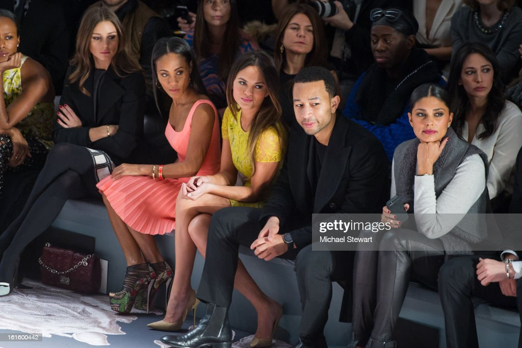 TV personality Olivia Palermo, actress Jada Pinkett Smith, model Chrissy Teigen, musician John Legend and designer Rachel Roy attend Vera Wang during fall 2013 Mercedes-Benz Fashion Week at The Stage at Lincoln Center on February 12, 2013 in New York City.