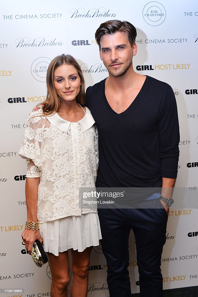 TV Personality <a gi-track='captionPersonalityLinkClicked' href=/galleries/search?phrase=Olivia+Palermo&family=editorial&specificpeople=2639086 ng-click='$event.stopPropagation()'>Olivia Palermo</a> and model Johannes Huebl attend the screening of Lionsgate and Roadside Attractions' 'Girl Most Likely' hosted by The Cinema Society & Brooks Brothers at Landmark's Sunshine Cinema on July 15, 2013 in New York City.