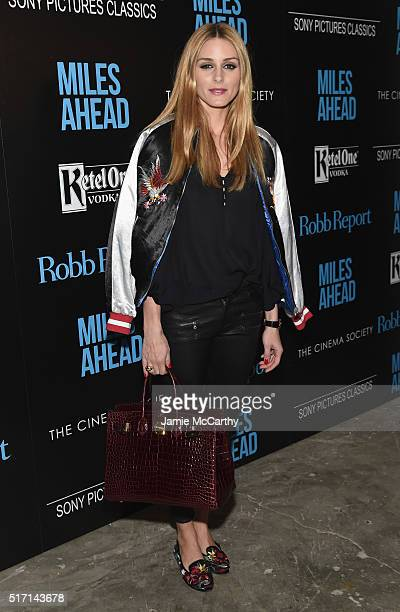 TV personality Olivia Palermo arrives at the screening of Sony Pictures Classics' 'Miles Ahead' hosted by The Cinema Society with Ketel One and Robb...