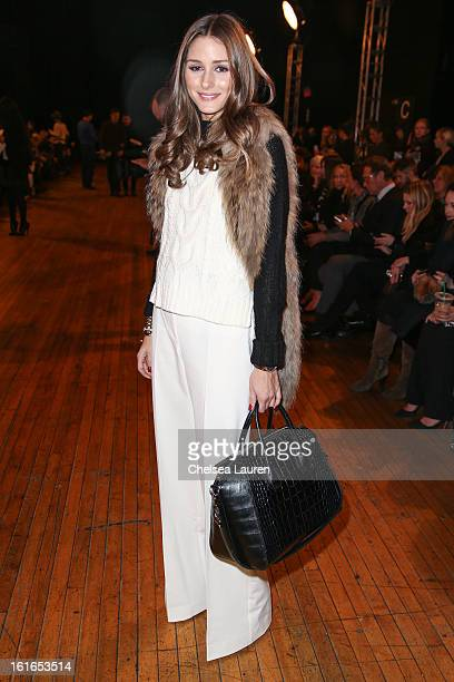TV personality Olivia Palermo attends the Philosophy By Natalie Ratabesi fall 2013 fashion show during MercedesBenz Fashion Week at Roseland Ballroom...