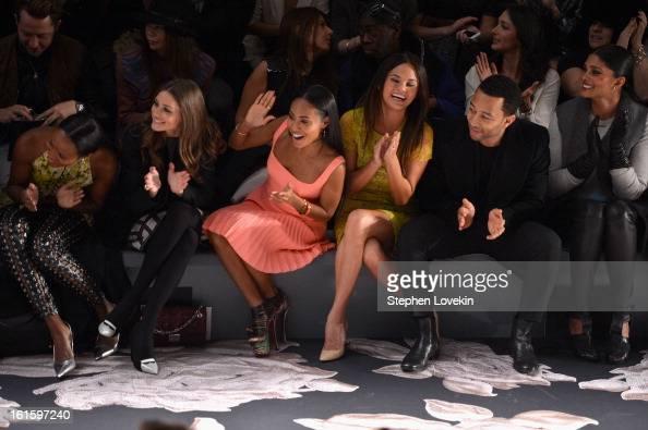 TV personality Olivia Palermo Jada Pinkett Smith model Chrissy Teigen singer John Legend and Rachel Roy attend the Vera Wang Fall 2013 fashion show...