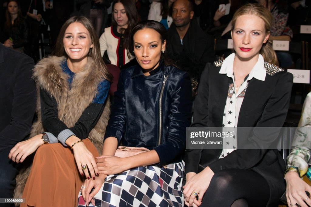 TV personality <a gi-track='captionPersonalityLinkClicked' href=/galleries/search?phrase=Olivia+Palermo&family=editorial&specificpeople=2639086 ng-click='$event.stopPropagation()'>Olivia Palermo</a>, model <a gi-track='captionPersonalityLinkClicked' href=/galleries/search?phrase=Selita+Ebanks&family=editorial&specificpeople=619483 ng-click='$event.stopPropagation()'>Selita Ebanks</a> and model <a gi-track='captionPersonalityLinkClicked' href=/galleries/search?phrase=Poppy+Delevingne&family=editorial&specificpeople=2348985 ng-click='$event.stopPropagation()'>Poppy Delevingne</a> attend Noon By Noor Fall 2013 Mercedes-Benz Fashion Week at The Studio at Lincoln Center on February 8, 2013 in New York City.