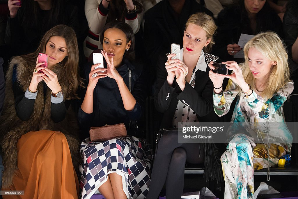 TV personality <a gi-track='captionPersonalityLinkClicked' href=/galleries/search?phrase=Olivia+Palermo&family=editorial&specificpeople=2639086 ng-click='$event.stopPropagation()'>Olivia Palermo</a>, model <a gi-track='captionPersonalityLinkClicked' href=/galleries/search?phrase=Selita+Ebanks&family=editorial&specificpeople=619483 ng-click='$event.stopPropagation()'>Selita Ebanks</a>, model <a gi-track='captionPersonalityLinkClicked' href=/galleries/search?phrase=Poppy+Delevingne&family=editorial&specificpeople=2348985 ng-click='$event.stopPropagation()'>Poppy Delevingne</a> and model Cory Kennedy attend Noon By Noor Fall 2013 Mercedes-Benz Fashion Week at The Studio at Lincoln Center on February 8, 2013 in New York City.