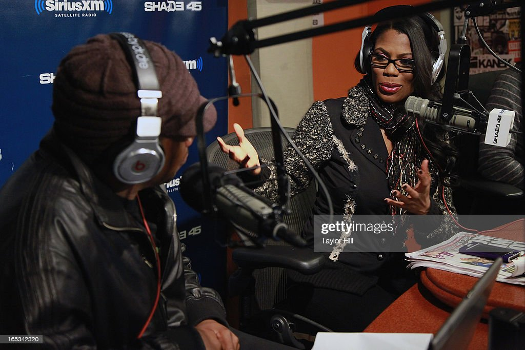 TV personality Omarosa is interviewed by <a gi-track='captionPersonalityLinkClicked' href=/galleries/search?phrase=Sway+Calloway&family=editorial&specificpeople=214641 ng-click='$event.stopPropagation()'>Sway Calloway</a> on 'Sway in the Morning' on Eminem's SHADE 45 Channel at SiriusXM Studios on April 2, 2013 in New York City.