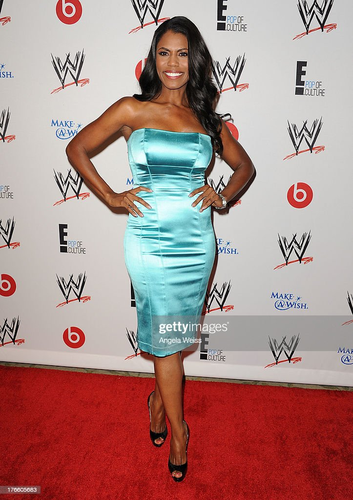 TV personality Omarosa Manigault arrives at WWE and E! Entertainment's 'Superstars For Hope' at Beverly Hills Hotel on August 15, 2013 in Beverly Hills, California.