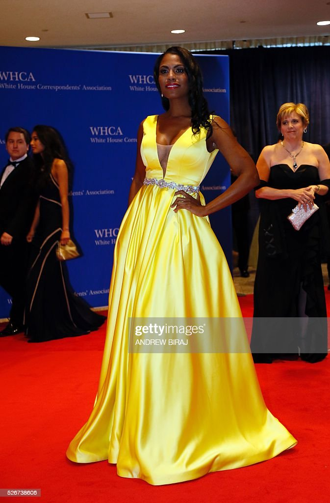 TV personality Omarosa Manigault arrives for the 102nd White House Correspondents' Association Dinner in Washington, DC, on April 30, 2016. / AFP / Andrew Biraj