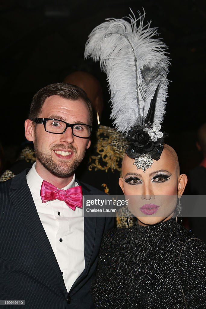 TV personality <a gi-track='captionPersonalityLinkClicked' href=/galleries/search?phrase=Ongina&family=editorial&specificpeople=5658259 ng-click='$event.stopPropagation()'>Ongina</a> (R) and husband Ryan Wray attend 'Rupaul's Drag Race' season 5 premiere party at The Abbey on January 22, 2013 in West Hollywood, California.