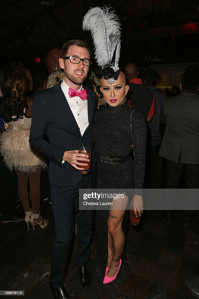 TV personality Ongina (R) and husband Ryan Wray attend 'Rupaul's Drag Race' season 5 premiere party at The Abbey on January 22, 2013 in West Hollywood, California.