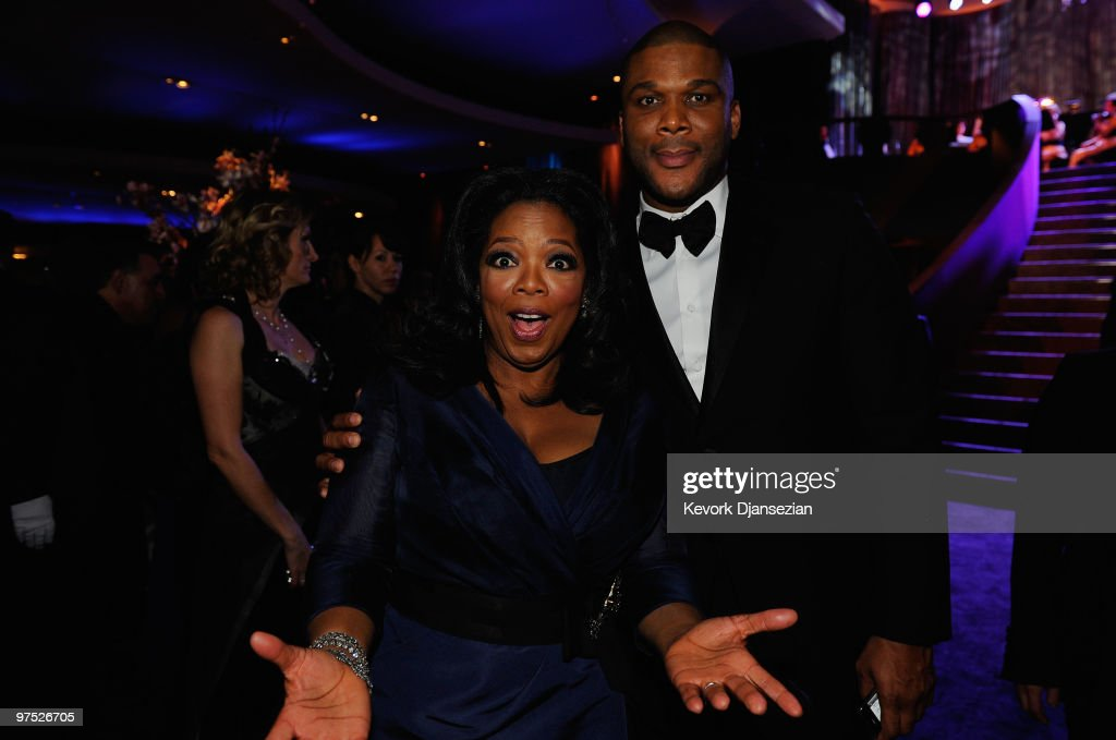 TV personality Oprah Winfrey and executive producer Tyler Perry attends the 82nd Annual Academy Awards Governor's Ball held at Kodak Theatre on March...