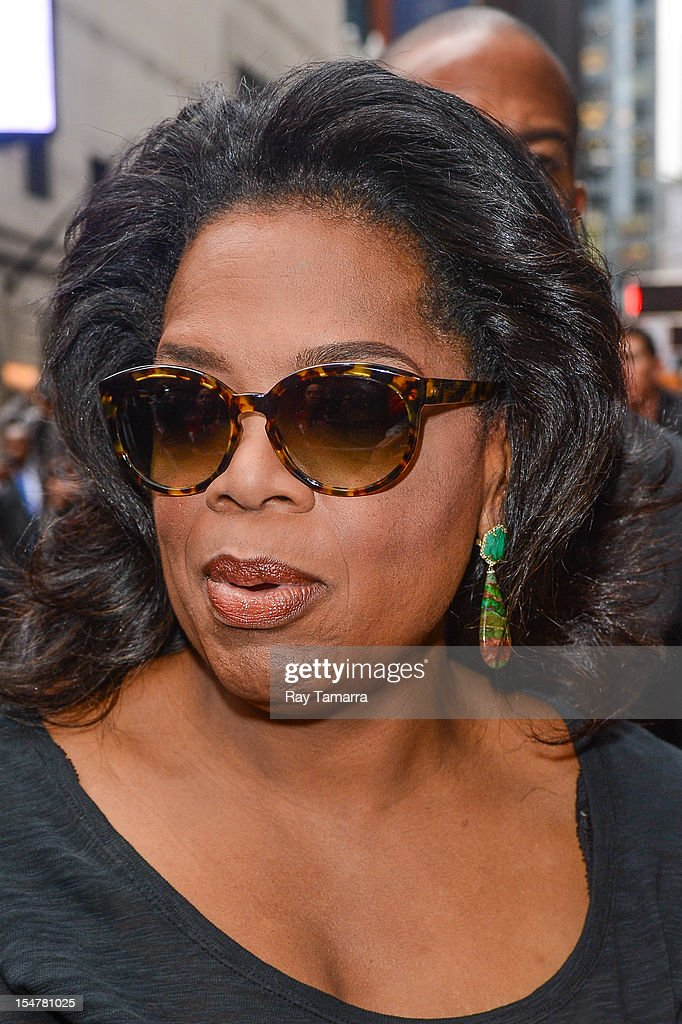 TV personality Oprah Winfrey leaves the 'Good Morning America' taping at the ABC Times Square Studios on October 25, 2012 in New York City.