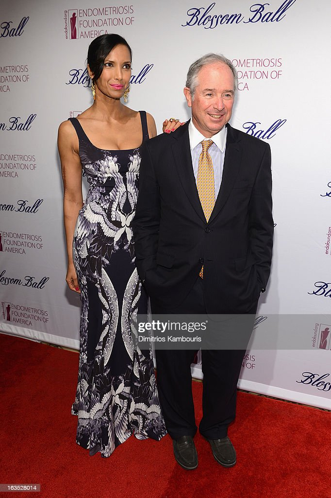 TV Personality Padma Lakshmi and Stephen Schwarzman attend The Endometriosis Foundation of America's Celebration of The 5th Annual Blossom Ball at Capitale on March 11, 2013 in New York City.