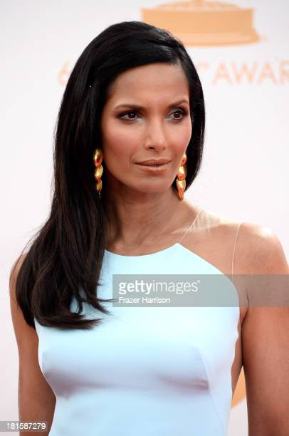 TV personality Padma Lakshmi arrives at the 65th Annual Primetime Emmy Awards held at Nokia Theatre LA Live on September 22 2013 in Los Angeles...