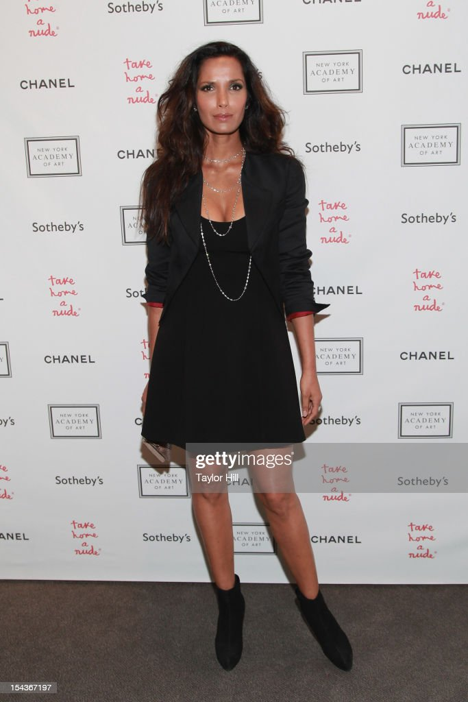 TV personality Padma Lakshmi attends the 2012 Take Home a Nude Benefit Art Auction at Sotheby's on October 18, 2012 in New York City.