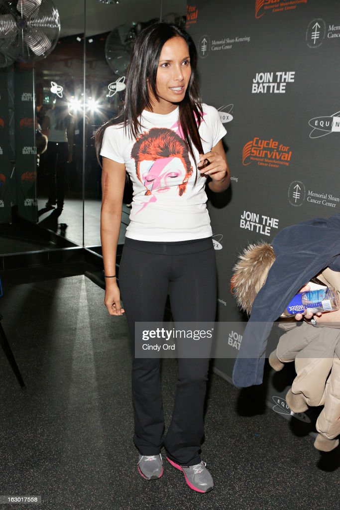 TV personality Padma Lakshmi attends the 2013 Cycle For Survival Benefit at Equinox Rock Center on March 3, 2013 in New York City.