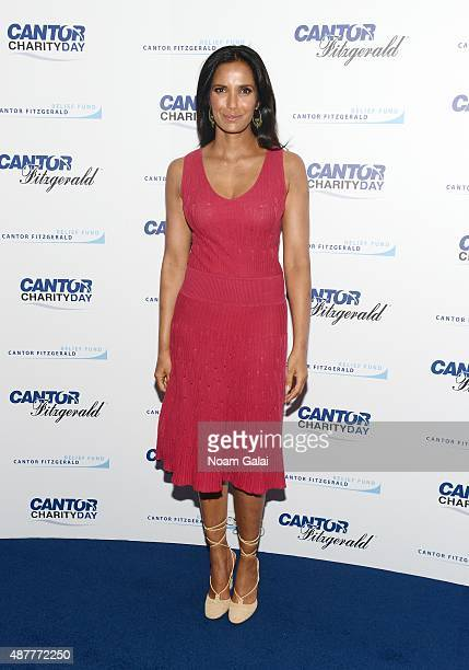 TV personality Padma Lakshmi attends the annual Charity Day hosted by Cantor Fitzgerald and BGC at Cantor Fitzgerald on September 11 2015 in New York...