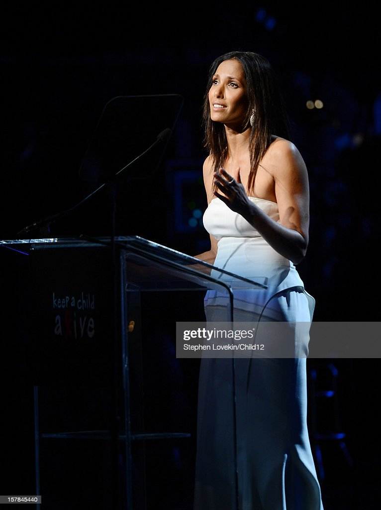 TV personality <a gi-track='captionPersonalityLinkClicked' href=/galleries/search?phrase=Padma+Lakshmi&family=editorial&specificpeople=201593 ng-click='$event.stopPropagation()'>Padma Lakshmi</a> speaks on stage during Black Ball Redux at The Apollo Theater on December 6, 2012 in New York City.