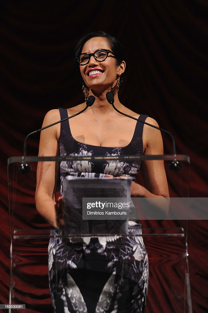 TV Personality Padma Lakshmi speaks onstage at The Endometriosis Foundation of America's Celebration of The 5th Annual Blossom Ball at Capitale on March 11, 2013 in New York City.