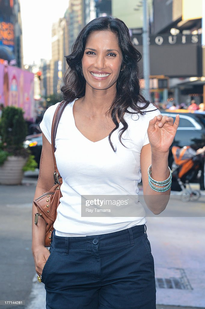 TV personality Padma Lakshmi walks in Times Square on August 21, 2013 in New York City.