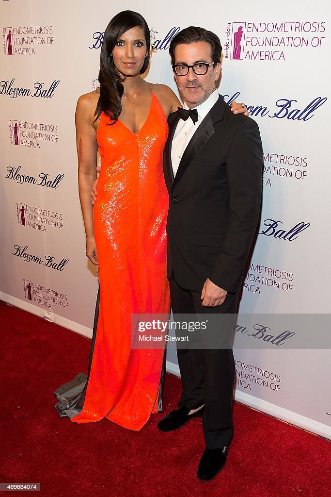 TV personality Padma Laksmi and designer Isaac Franco attend the EFA's 7th Annual Blossom Ball at Cipriani Downtown on April 13 2015 in New York City