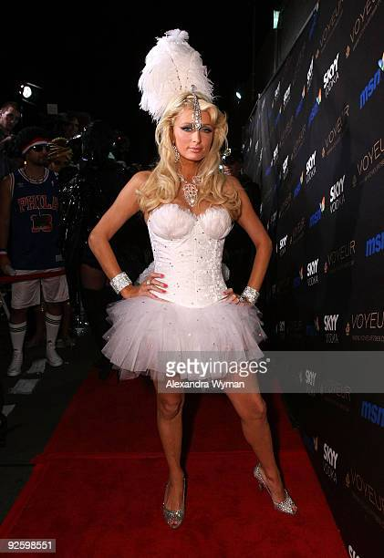 TV personality Paris Hilton arrives at Heidi Klum�s 10th Annual Halloween Party Presented by MSN and SKYY Vodka held at the Voyeur on October 31 2009...