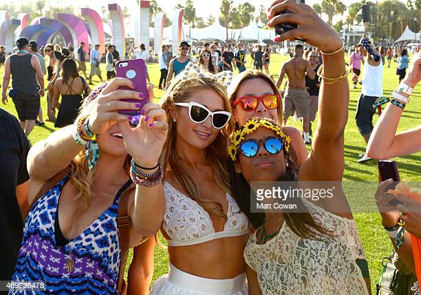 TV personality Paris Hilton attends day 1 of the 2015 Coachella Valley Music Arts Festival at the Empire Polo Club on April 10 2015 in Indio...