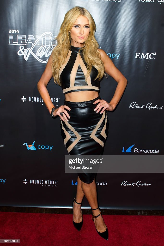 TV personality <a gi-track='captionPersonalityLinkClicked' href=/galleries/search?phrase=Paris+Hilton&family=editorial&specificpeople=171761 ng-click='$event.stopPropagation()'>Paris Hilton</a> attends the 11th Annual 'Leather & Laces' Party at The Liberty Theatre on January 31, 2014 in New York City.