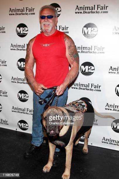 TV personality Paul Teutul and his dog Gus attend Animal Fair's 10th Annual Paws For Style at M2 Ultra Lounge on July 27 2009 in New York City