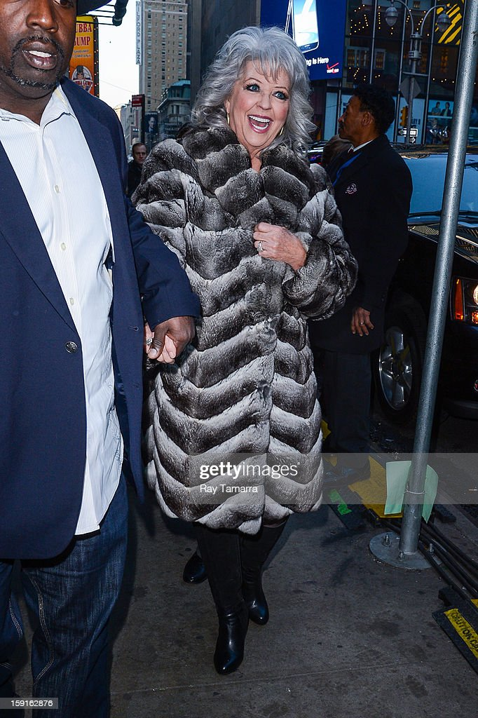 TV personality Paula Deen leaves the 'Good Morning America' taping at ABC Times Square Studios on January 8, 2013 in New York City.