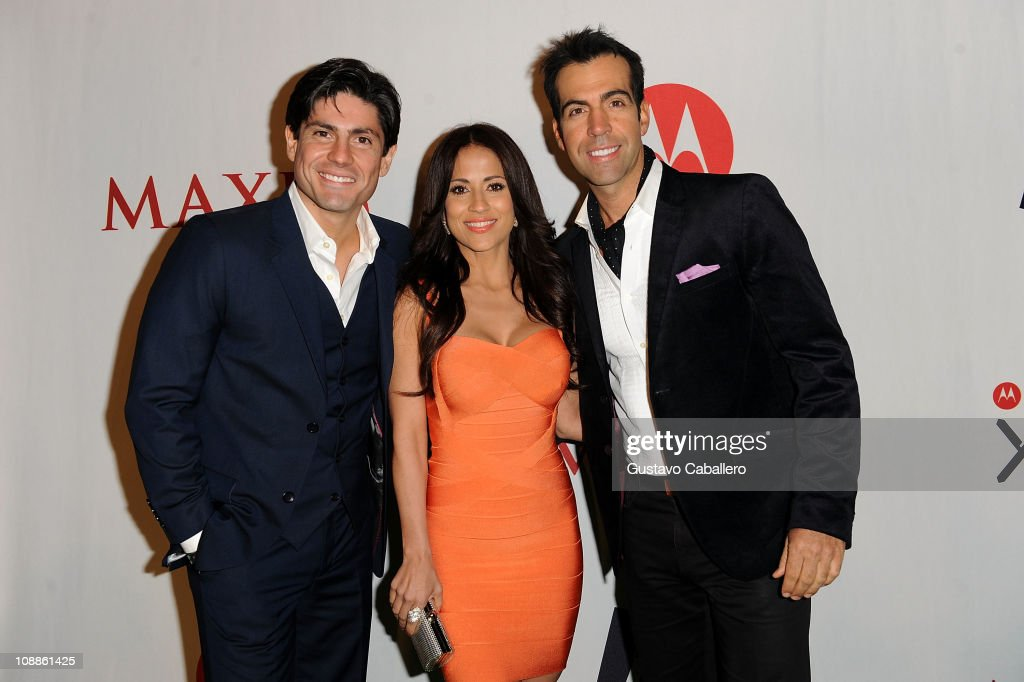 TV Personality Poncho de Anda,Jackie Guerrido and Felipe Viel attends the Maxim Party Powered by Motorola Xoom at Centennial Hall at Fair Park on February 5, 2011 in Dallas, Texas.
