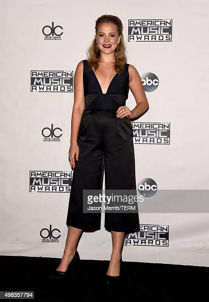 TV personality Poppy Jamie poses in the press room during the 2015 American Music Awards at Microsoft Theater on November 22 2015 in Los Angeles...