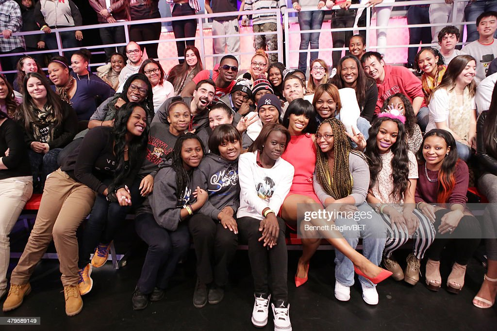 TV personality Porsha Williams poses for a picture with the audience during 106 & Park at BET studio on March 19, 2014 in New York City.