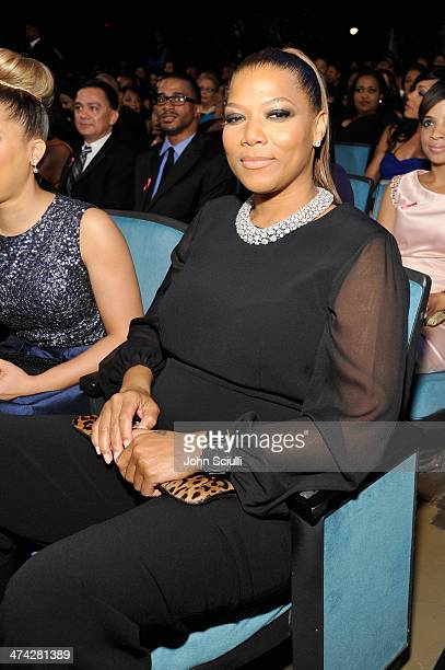 TV personality Queen Latifah attends the 45th NAACP Image Awards presented by TV One at Pasadena Civic Auditorium on February 22 2014 in Pasadena...