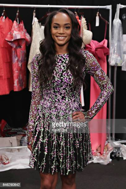 TV personality Rachel Lindsay poses for a photo backstage at the Badgley Mischka fashion show during September 2017 New York Fashion Week The Shows...