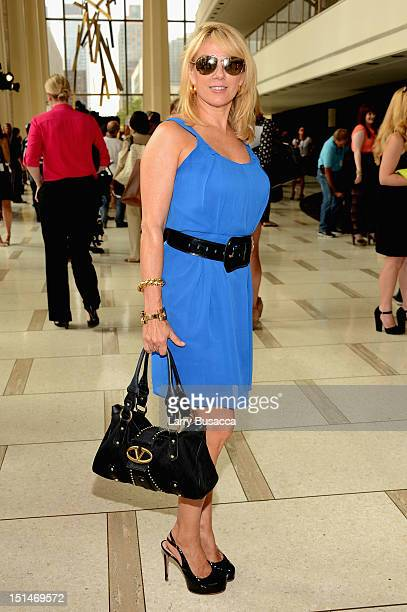 TV personality Ramona Singer poses at the Pamella Roland Spring 2013 fashion show presentation during MercedesBenz Fashion Week at Avery Fisher Hall...