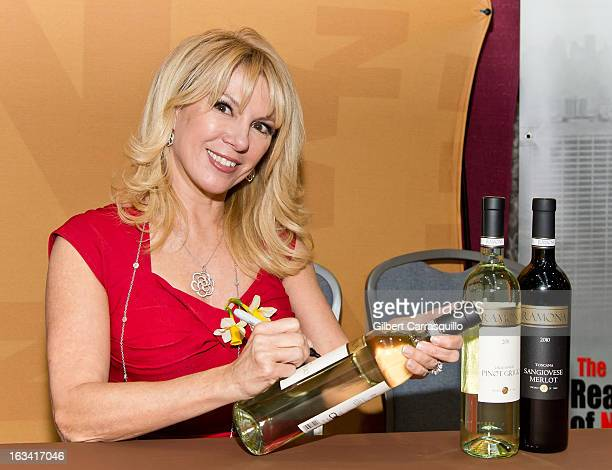 TV personality Ramona Singer promotes Ramona Red Sangiovese Merlot from Tuscany during the 2013 Philadelphia Flower Show at the Pennsylvania...