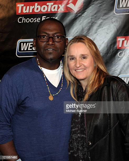 TV Personality Randy Jackson and Musician Melissa Etheridge attend the 52nd Annual GRAMMY awards backstage at the GRAMMYs Day 2 held at at Staples...