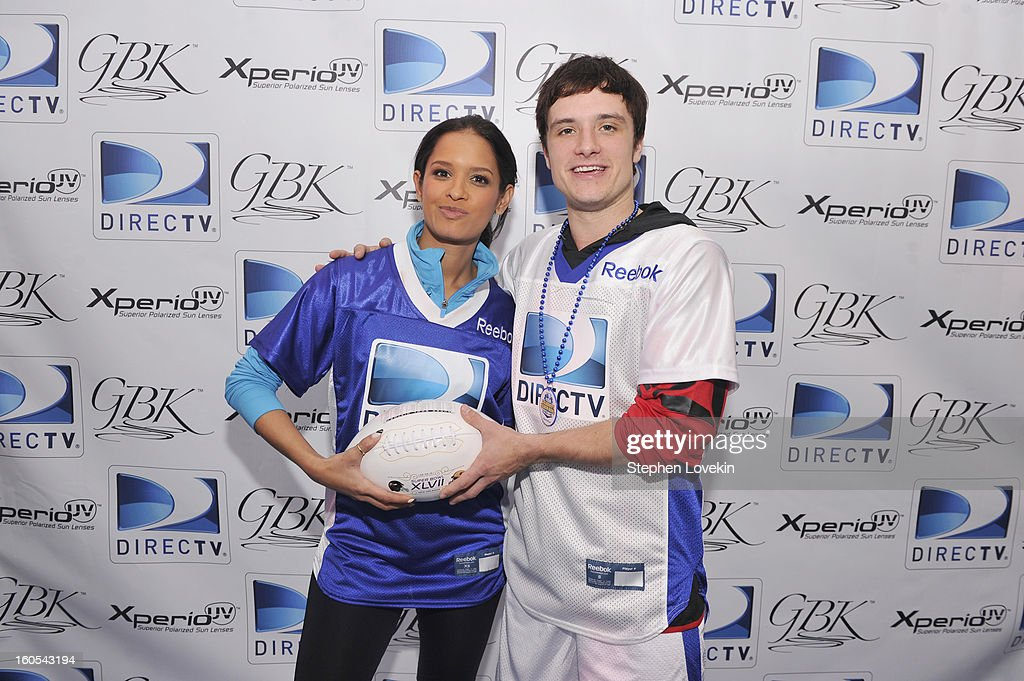 TV personality Raquel Roxanne Diaz and actor <a gi-track='captionPersonalityLinkClicked' href=/galleries/search?phrase=Josh+Hutcherson&family=editorial&specificpeople=673588 ng-click='$event.stopPropagation()'>Josh Hutcherson</a> attend GBK and DirecTV Celebrity Beach Bowl Thank You Lounge at DTV SuperFan Stadium at Mardi Gras World on February 2, 2013 in New Orleans, Louisiana.