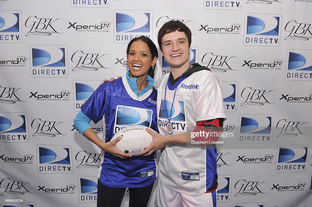 TV personality Raquel Roxanne Diaz and actor Josh Hutcherson attend GBK and DirecTV Celebrity Beach Bowl Thank You Lounge at DTV SuperFan Stadium at Mardi Gras World on February 2, 2013 in New Orleans, Louisiana.