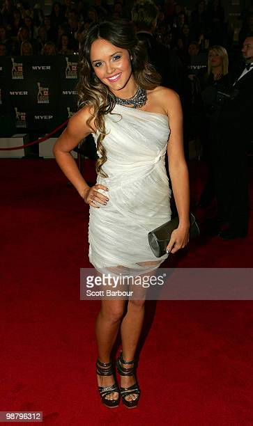 TV personality Rebecca Breeds arrives at the 52nd TV Week Logie Awards at Crown Casino on May 2 2010 in Melbourne Australia