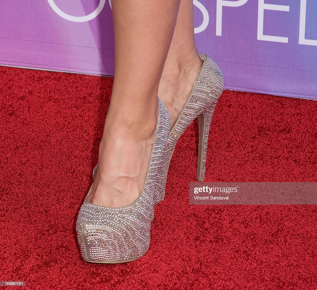 TV personality Rebecca Crews (shoe detail) attends the BET 13th annual 'Celebration Of Gospel' at Orpheum Theatre on March 16, 2013 in Los Angeles, California.