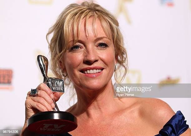 TV personality Rebecca Gibney poses with the Silver Logie for most popular female in the 52nd TV Week Logie Awards room at Crown Casino on May 2 2010...