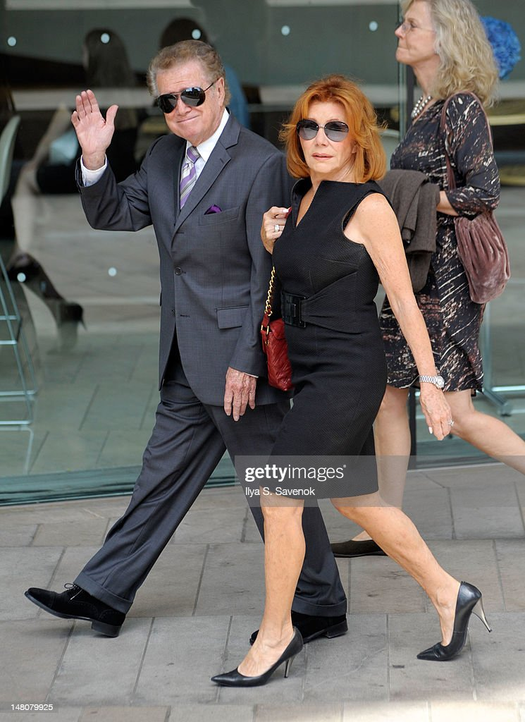 TV personality <a gi-track='captionPersonalityLinkClicked' href=/galleries/search?phrase=Regis+Philbin&family=editorial&specificpeople=202495 ng-click='$event.stopPropagation()'>Regis Philbin</a> (L) and his wife attend the Nora Ephron Memorial Service on July 9, 2012 in New York City.