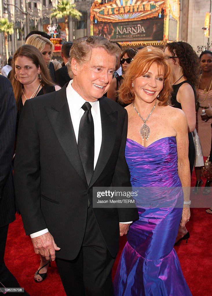 TV personality <a gi-track='captionPersonalityLinkClicked' href=/galleries/search?phrase=Regis+Philbin&family=editorial&specificpeople=202495 ng-click='$event.stopPropagation()'>Regis Philbin</a> and <a gi-track='captionPersonalityLinkClicked' href=/galleries/search?phrase=Joy+Philbin&family=editorial&specificpeople=208836 ng-click='$event.stopPropagation()'>Joy Philbin</a> arrives to The 35th Annual Daytime Emmy Awards at the Kodak Theatre on June 20, 2008 in Los Angeles, California.