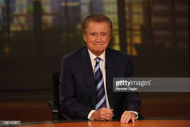 TV personality Regis Philbin attends a press conference on his departure from 'Live with Regis and Kelly' at ABC Studios on November 17 2011 in New...